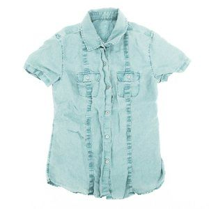 Tommy Bahama Button Shirt Pleated Linen Green XS